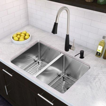 VIGO Milburn Single Handle Pull-Down Spray Kitchen Faucet, Stainless Steel and Matte Black