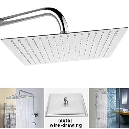 12 Inch Square Rain Shower Head Qliver Ultra Thin 304 Stainless