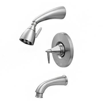 Whitehaus 614.855PR Blairhaus Monroe pressure balance valve with showerhead, tub spout with pull down diverter and octagon-shaped lever handle