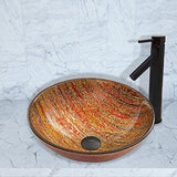 VIGO Blazing Fire Glass Vessel Bathroom Sink and Dior Vessel Faucet with Pop Up, Antique Rubbed Bronze