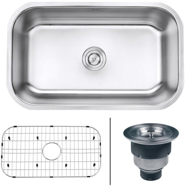 "Ruvati RVM4250 Undermount 16 Gauge 30"" Kitchen Single Bowl Sink, Stainless Steel"