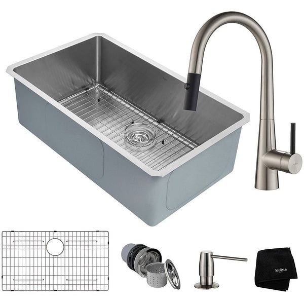 Kraus KHU100-32-2720-42SS Kitchen Sink and Faucet Combo Handmade Undermount...