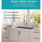 Kraus KHU100 1640-42CH Kitchen Sink and Faucet Combo Handmade Undermount...