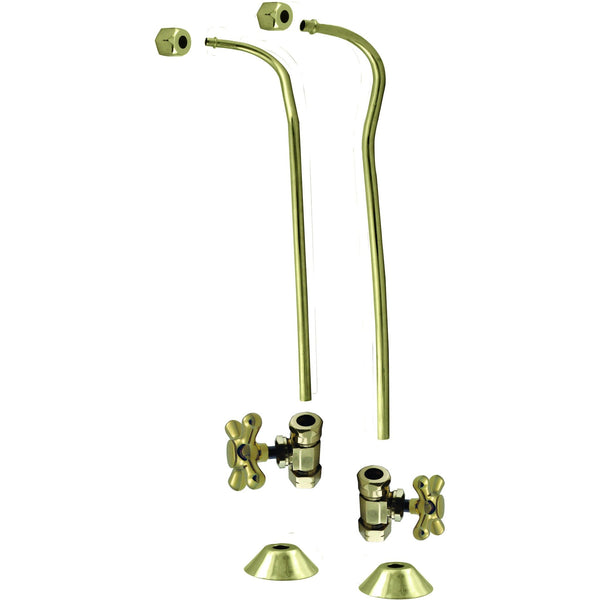 "Westbrass 1/2"" Copper Stops & Double Offset Bath Supply with Cross Handles"
