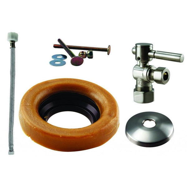 Westbrass Toilet Kit with 1/4-Turn nom comp Stop and Wax Ring - Lever Handle