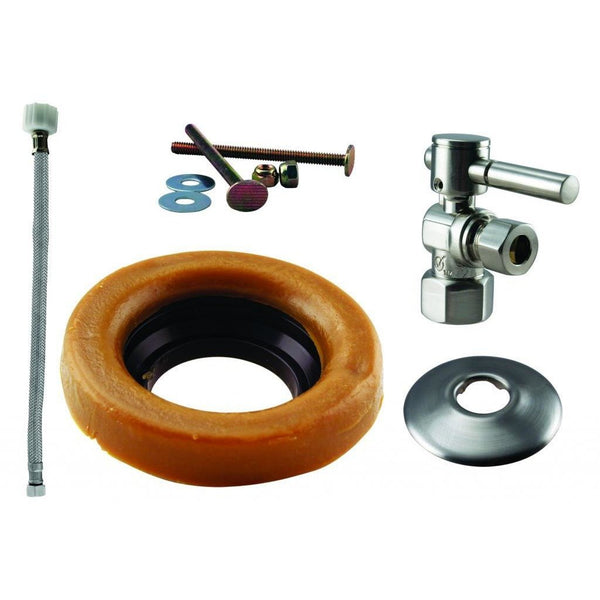 Westbrass Toilet Kit with 1/4-Turn 1/2 in IPS Stop and Wax Ring - Lever Handle