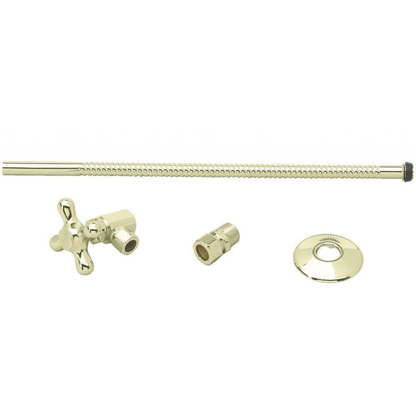 Westbrass Toilet Kit with Stop and Corrugated Riser - Cross Handle