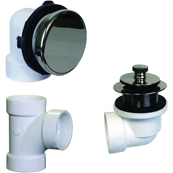 Westbrass Illusionary Overflow, Sch. 40 PVC Plumbers Pack with Lift and Turn Bath Drain