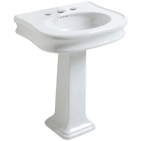 Whitehaus LA10-LA03-3H China Series traditional pedestal with integrated oval bowl, decorative trim and rear overflow