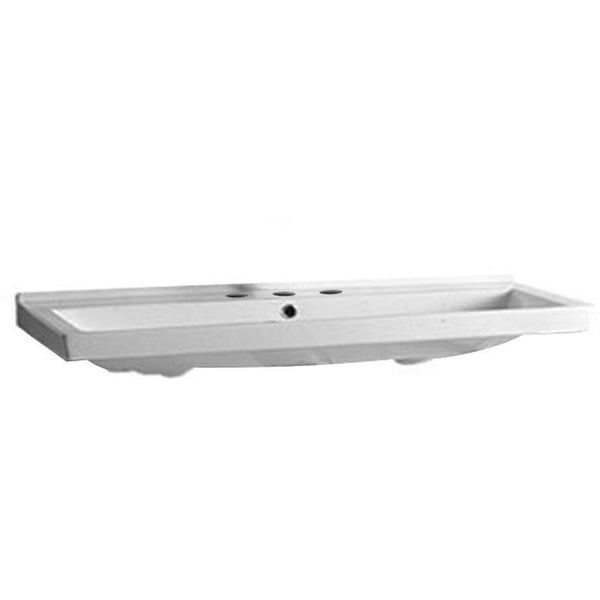 Whitehaus LU030-3H China Series large, rectangular china wall mount basin  with no hole faucet drilling and chrome overflow.