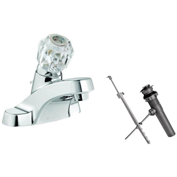 Westbrass 4 in. Centerset 1-Handle Bathroom Faucet with Drain