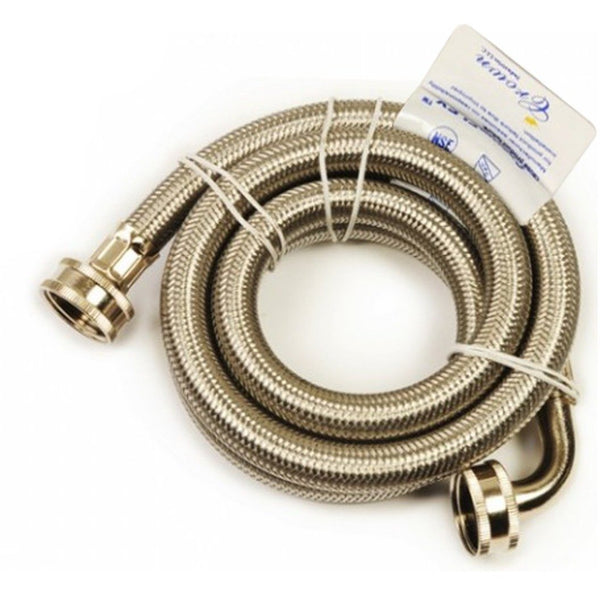 Westbrass Washing Machine Hose -Stainless Steel w/ Elbow - 3/4 in Hose x 72 in. 163-46272