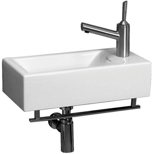 Whitehaus WH1-114RTB Isabella wall mount basin with towel bar & center drain