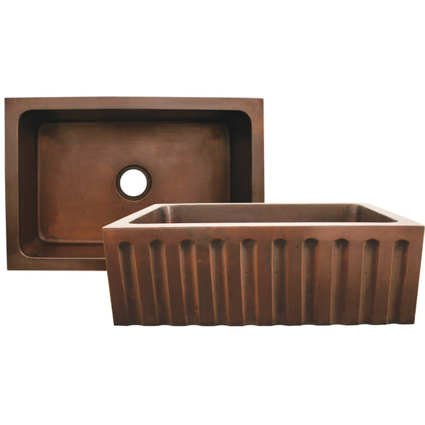 Whitehaus WH3020COFCFL Copperhaus rectangular undermount sink with a fluted design front apron