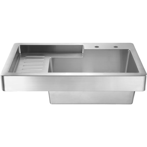 Whitehaus WH33209 Pearlhaus single bowl drop in utility sink with drainboard