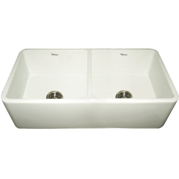 Whitehaus WH3719 Duet reversible double bowl fireclay sink with smooth front apron