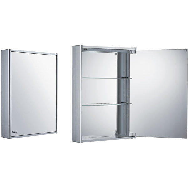 Whitehaus WHCAR-35 Single two sided mirrored door medicine cabinet with two adjustable glass shelves and mirror faced back wall.