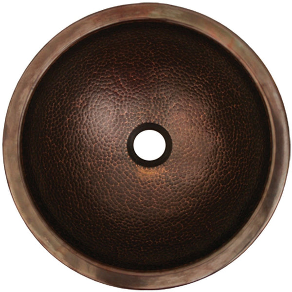 Whitehaus WHCOLV1455 Copperhaus round drop-in/undermount basin with smooth or hammered texture