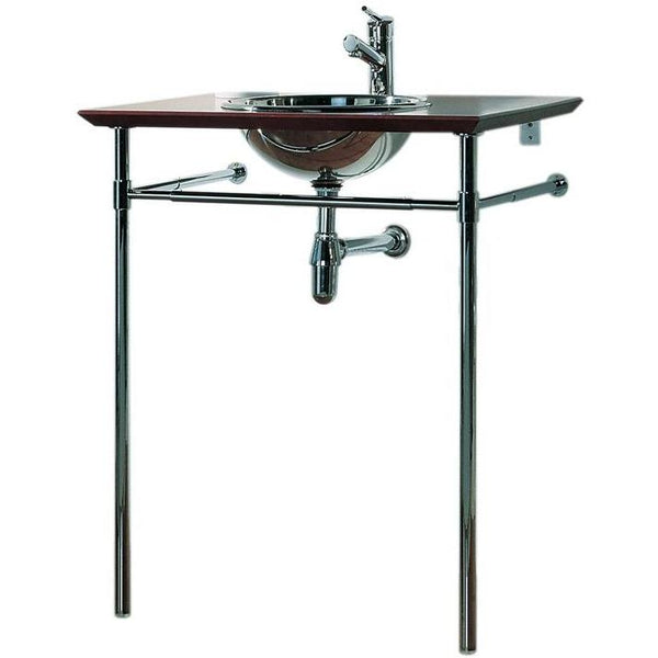 Whitehaus WHEET New Generation exotic bubinga counter top with mahogany finish - includes: polished stainless steel drop-in basin and double leg supports with attached towel bar