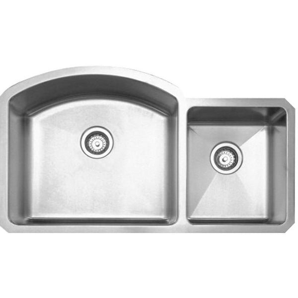 Whitehaus WHNC3721 Noah's Collection Brushed Stainless Steel Chefhaus Series double bowl undermount sink