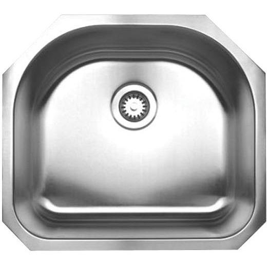 Whitehaus WHNU2119 Noah's Collection Brushed Stainless Steel single bowl (Dowl) undermount sink