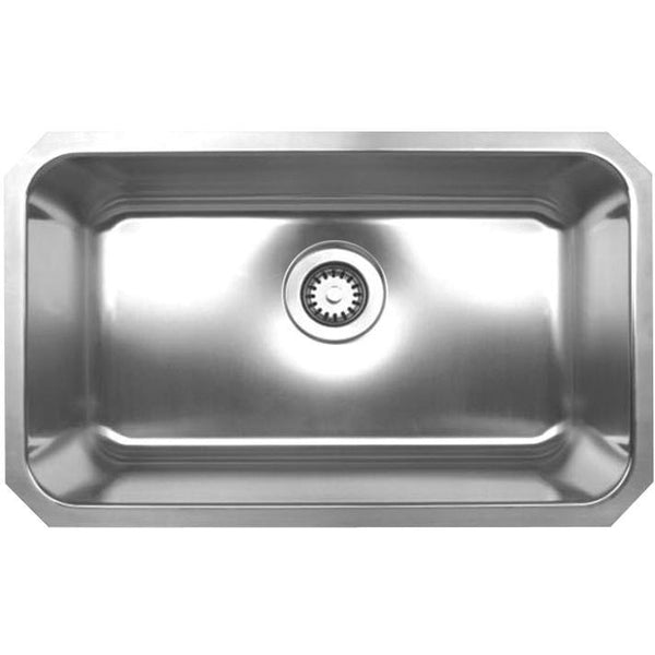 Whitehaus WHNU2816 Noah's Collection Brushed Stainless Steel rectangular single bowl undermount sink