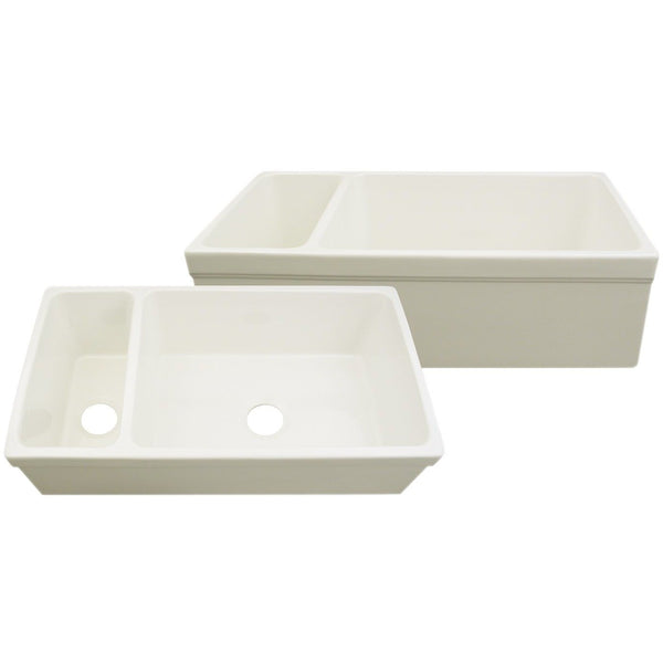 Whitehaus WHQDB542 Large Quatro Alcove reversible fireclay sink and small bowl with decorative 2 ½ inch lip on both sides