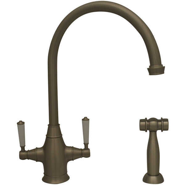 Whitehaus WHQNP-34650 Queenhaus dual handle faucet with a long gooseneck spout, porcelain lever handles and solid side spray