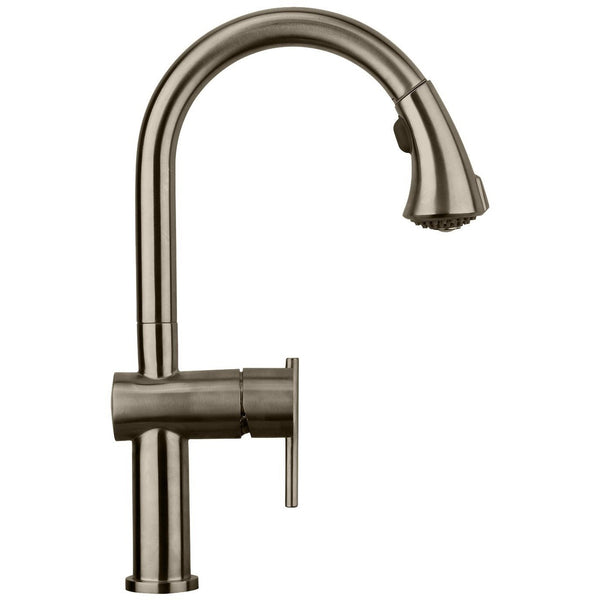 Whitehaus WHS1971-SKSS Waterhaus lead free, solid stainless steel single-hole faucet with gooseneck swivel spout and pull down spray head