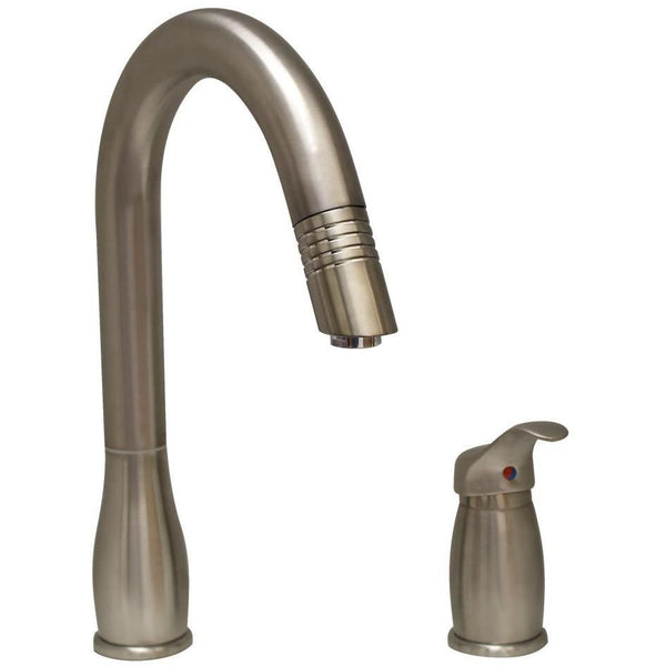 Whitehaus WHUS492 Metrohaus two hole faucet with independent single lever mixer, gooseneck swivel spout and pull-down spray head