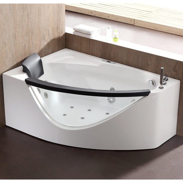 EAGO AM198ETL-R 5 ft Clear Rounded Right Corner Acrylic Whirlpool Bathtub