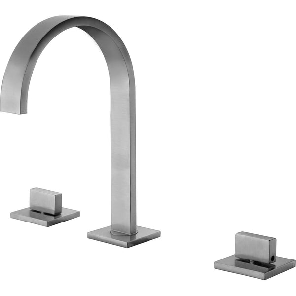 ALFI brand AB1336 Brushed Nickel/Polished Chrome Gooseneck Widespread Bathroom Faucet