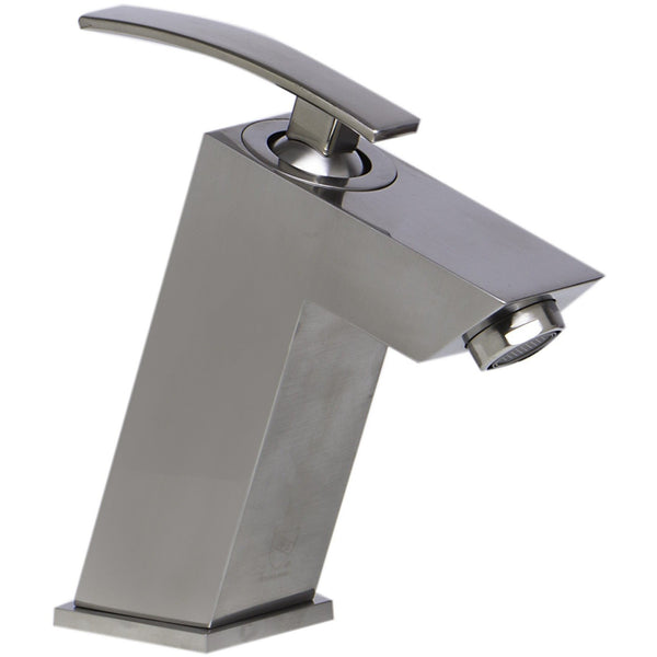 ALFI brand AB1628 Brushed Nickel/Polished Chrome Single Lever Bathroom Faucet