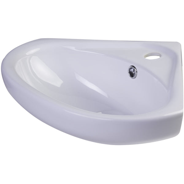 "ALFI brand AB109  18"" White Corner Porcelain Wall Mounted Bath Sink"