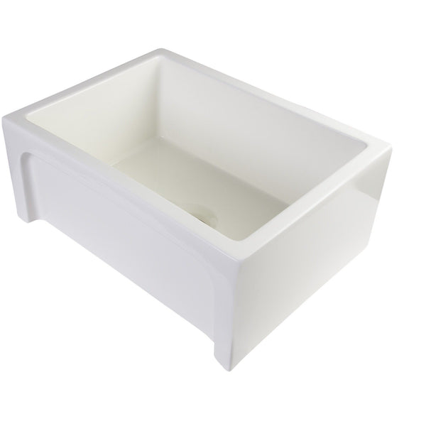"ALFI brand AB2418ARCH 24"" Biscuit/White Arched Apron Thick Wall Fireclay Single Bowl Farm Sink"