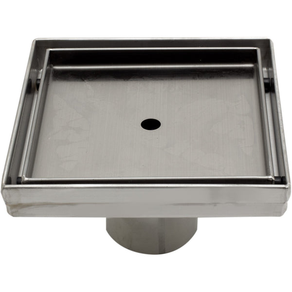 "ALFI brand ABSD55A 5"" x 5"" Modern Square Stainless Steel Shower Drain w/o Cover"
