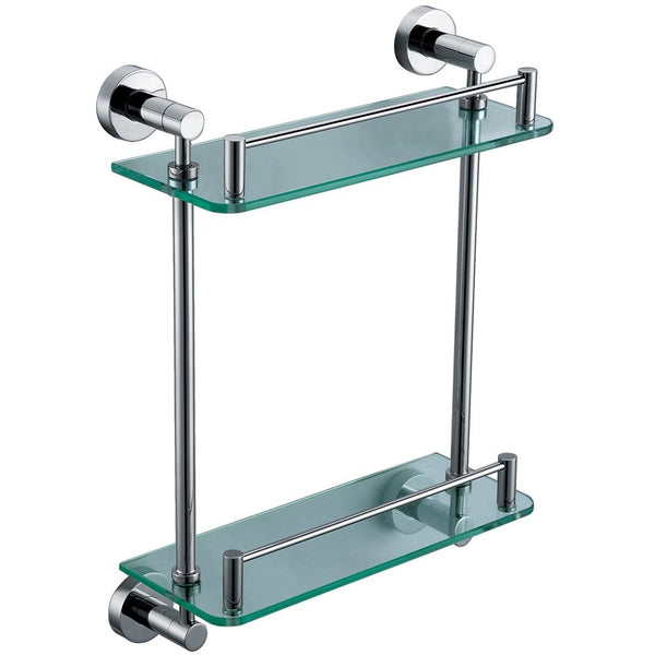 ALFI brand AB9549 Polished Chrome Wall Mounted Double Glass Shower Shelf Bathroom Accessory