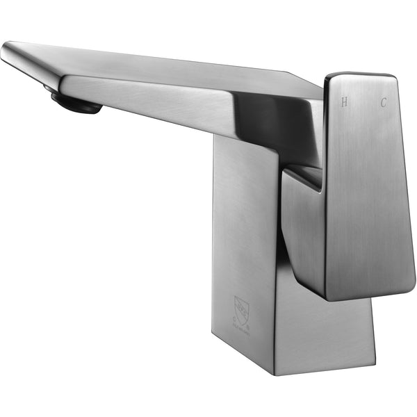 ALFI brand AB1470 Brushed Nickel/Polished Chrome Modern Single Hole Bathroom Faucet