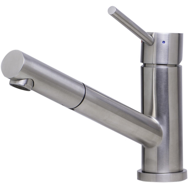 ALFI brand AB2025 Solid Brushed/Polished Stainless Steel Pull Out Single Hole Kitchen Faucet