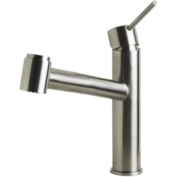 ALFI brand AB2203 Brushed/Polished Stainless Steel Kitchen Faucet /w Pull-Out Spray