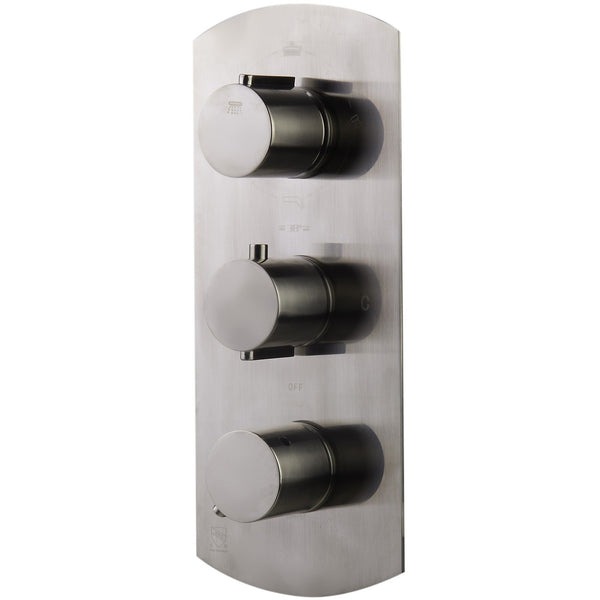 ALFI brand AB4101 Brushed Nickel/Polished Chrome Concealed 4-Way Thermostatic Valve Shower Mixer /w Round Knobs