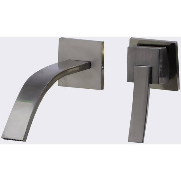 ALFI brand AB1256 Brushed Nickel/Polished Chrome Single Lever Wallmount Bathroom Faucet