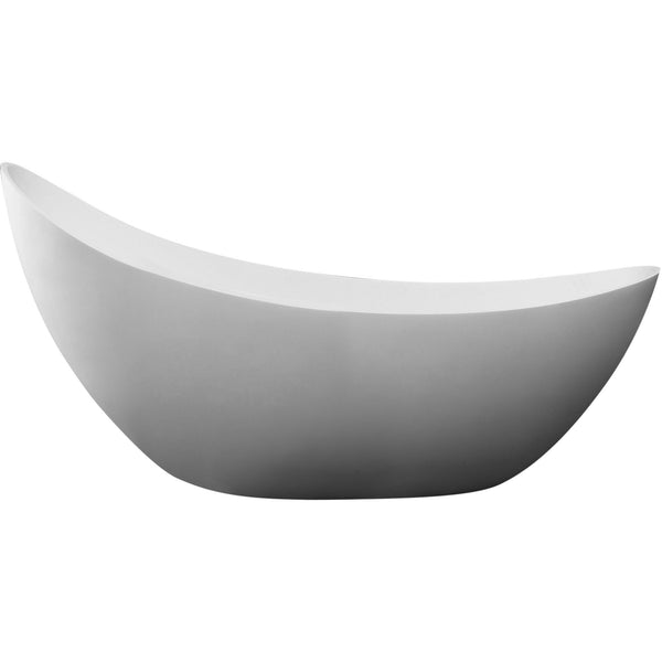 "ALFI brand AB9951 73"" White Solid Surface Smooth Resin Soaking Slipper Bathtub"