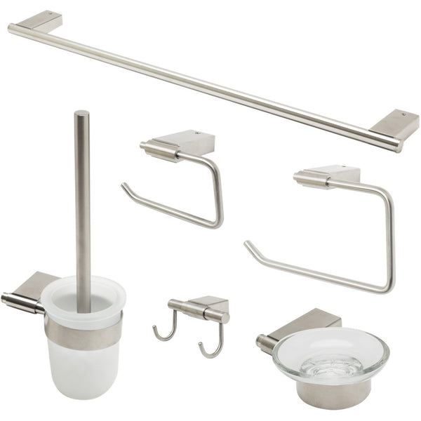 ALFI brand AB9515 Brushed Nickel/Polished Chrome 6 Piece Matching Bathroom Accessory Set