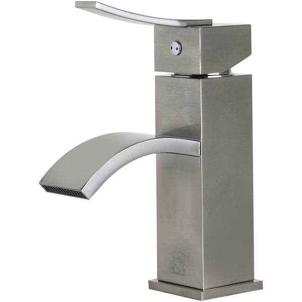 ALFI brand AB1258 Brushed Nickel/Polished Chrome Square Body Curved Spout Single Lever Bathroom Faucet