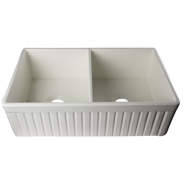 "ALFI brand AB537 Biscuit/White 32"" Fluted Apron Double Bowl Fireclay Farmhouse Kitchen Sink"
