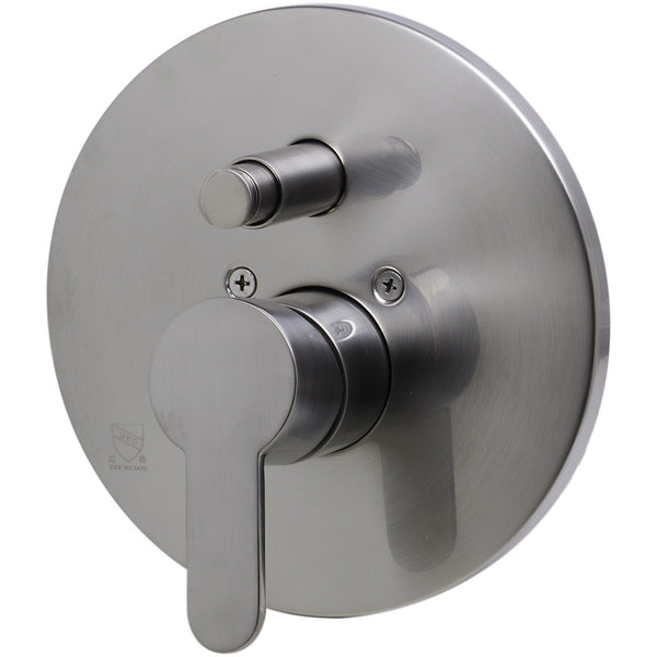 ALFI brand AB3101 Brushed Nickel/Polished Chrome Shower Valve Mixer with Rounded Lever Handle and Diverter