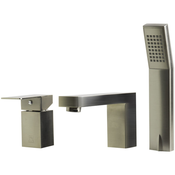 ALFI brand AB2322 Brushed Nickel/Polished Chrome Deck Mounted Tub Filler and Square Hand Held Shower Head
