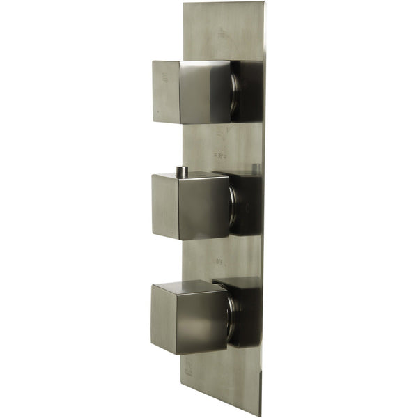 ALFI brand AB2901 Brushed Nickel/Polished Chrome Concealed 4-Way Thermostatic Valve Shower Mixer /w Square Knobs