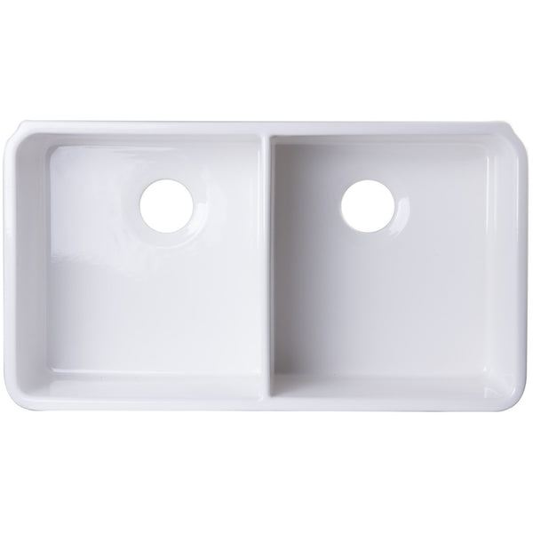 ALFI brand AB512UM 32 inch Biscuit/White Double Bowl Fireclay Undermount Kitchen Sink